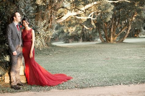 South African Wedding with Red Illusion Lace Dress by