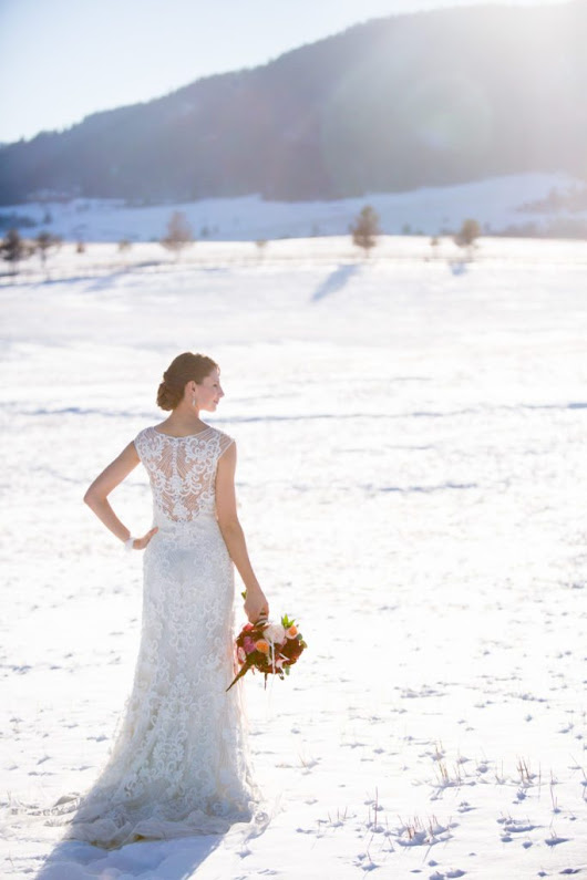 Burgundy Winter Wedding Shoot at Spruce Mountain Ranch - Cloud 9