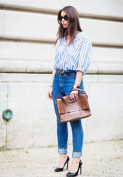Le Fashion Blog 25 Ways To Wear A Striped Button Down Shirt High Waisted Jeans Via Style Du Monde Brown Leather Bag Street Style