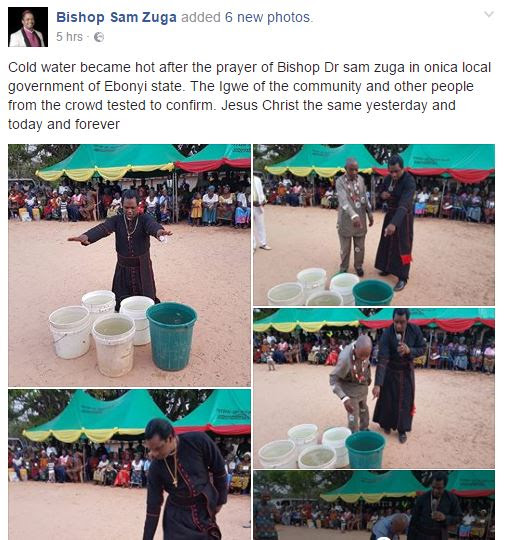 Bishop Turns Cold water to very Hot water at Ebonyi..(Photos)