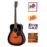 Yamaha FG730S Folk Acoustic Guitar Bundle with Instructional DVD, Strings, Pick Card, and Polishing Cloth - Tobacco...