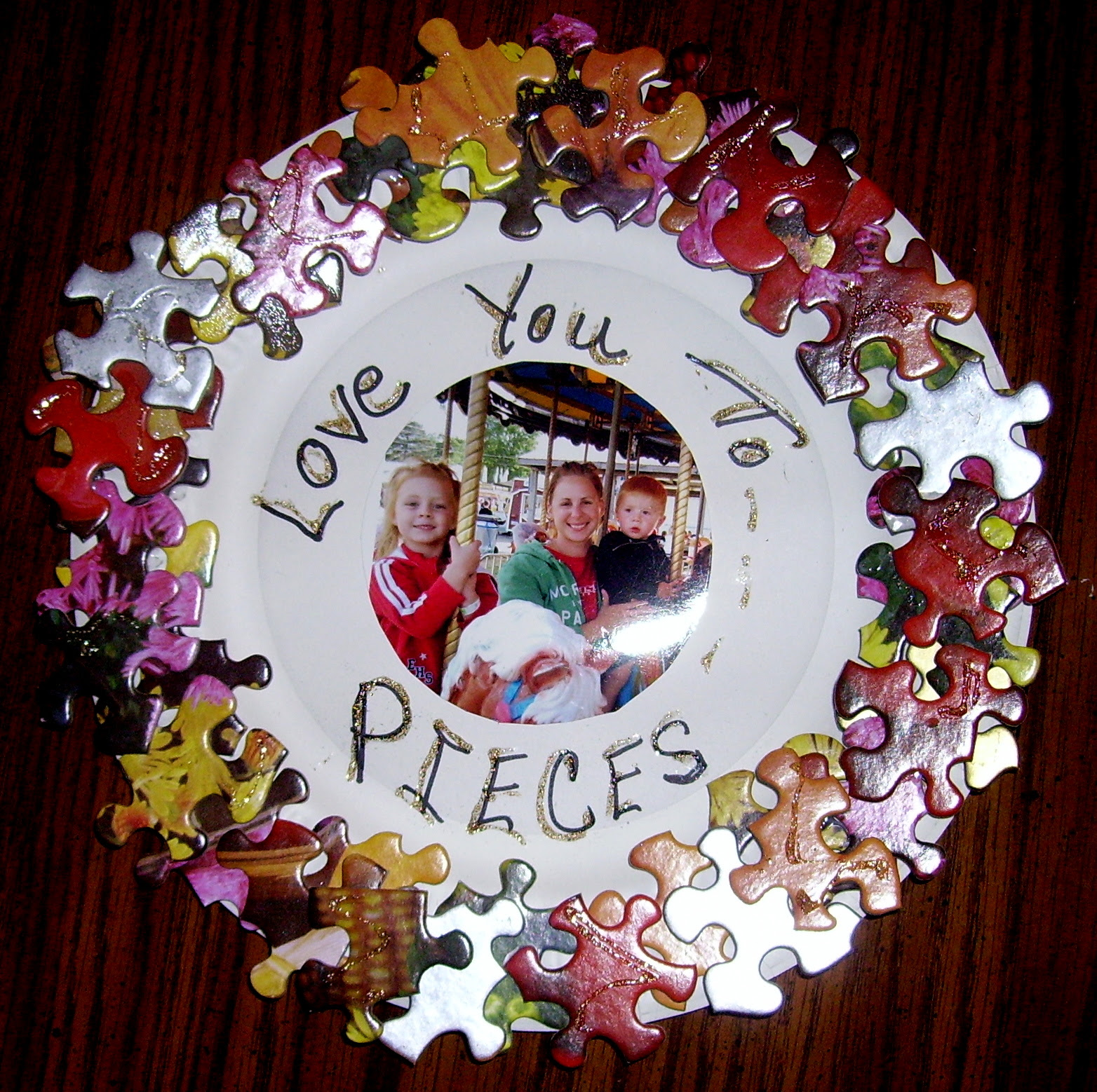 Love You To Pieces Frame Kids Glitter