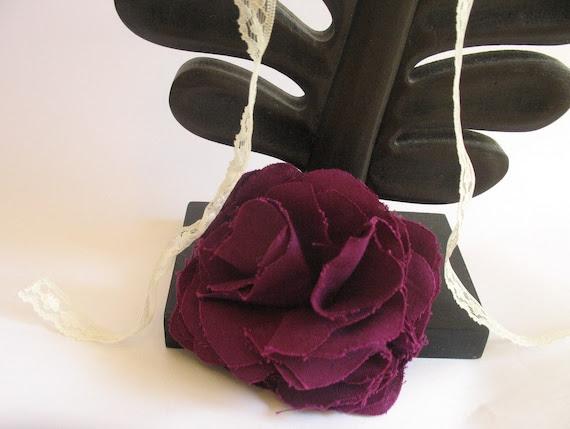 Dark Purple Fabric Flower Brooch Pin