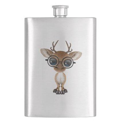 Nerdy Baby Deer Wearing Glasses Flask