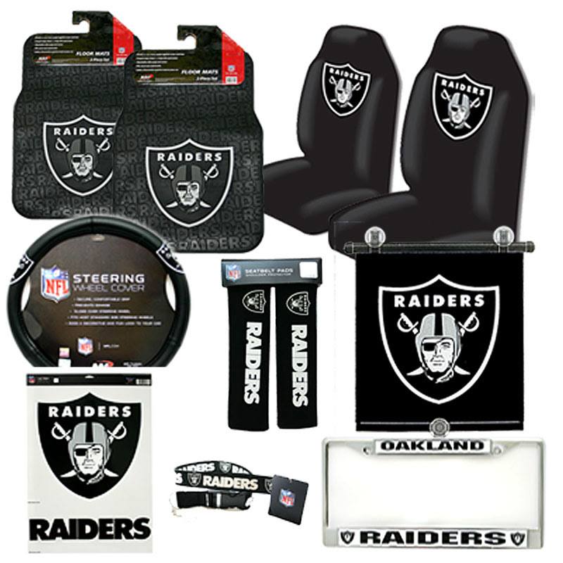 NFL Oakland Raiders Car Seat Cover Auto Accessories Set 12pc  eBay