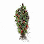 "28"" Glittered Artificial Boxwood, Pine Cone and Red Berry Christmas Teardrop Swag- Unlit by Christmas Central"