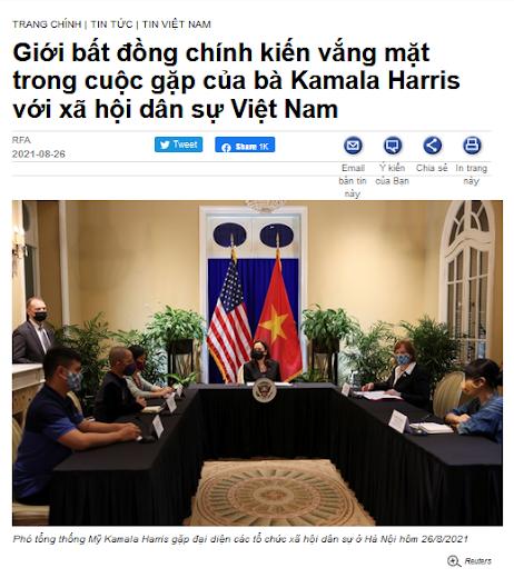 Phó Tổng thống Mỹ không gặp các nhà chống Cộng