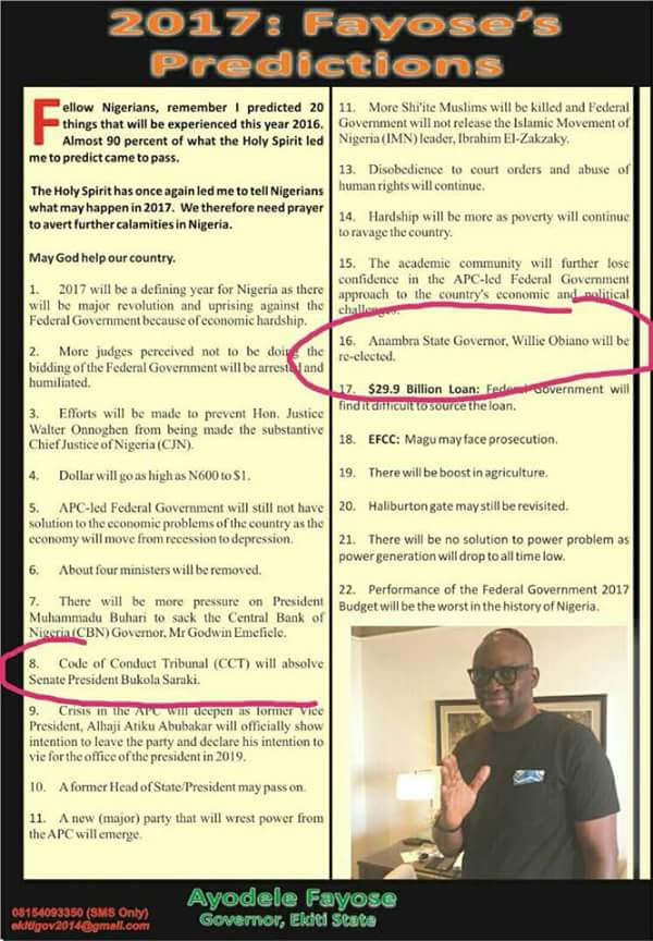 See How Governor Fayose Predicted Willie Obiano's Re-Election (Photo)