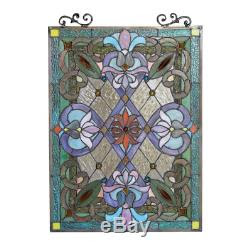 Stained Glass Window Panel Victorian Tiffany Style Hanging Wall Home