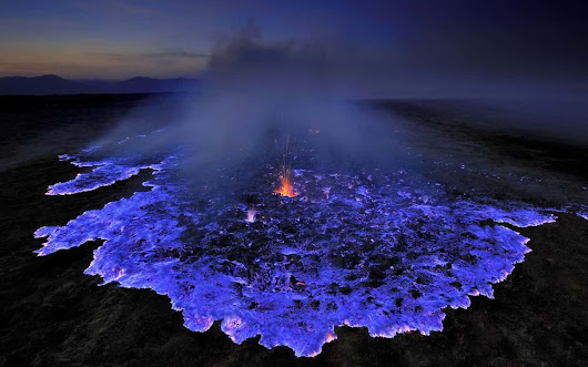 This Indonesian Volcano Burns Electric-Blue Lava