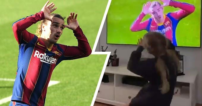 Griezmann dedicate his Barcelona first-half screamer vs Osasuna to daughter Mia: Watch daughter celebration