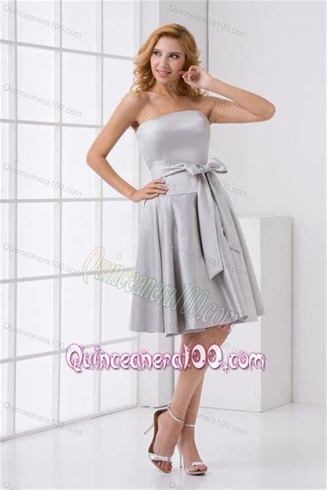 Cheap A line Strapless Grey Mini length Dresses for Dama