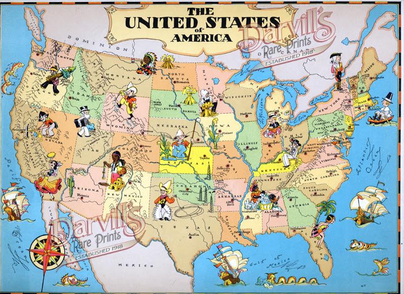 Cartoon Map Of Usa | GOOGLESAND on