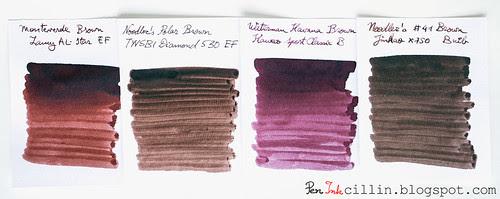 Monteverde Brown 4 ink comparison