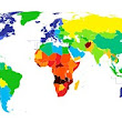 How long will you live? Colour-coded map that starkly highlights differences in life expectancy across the globe