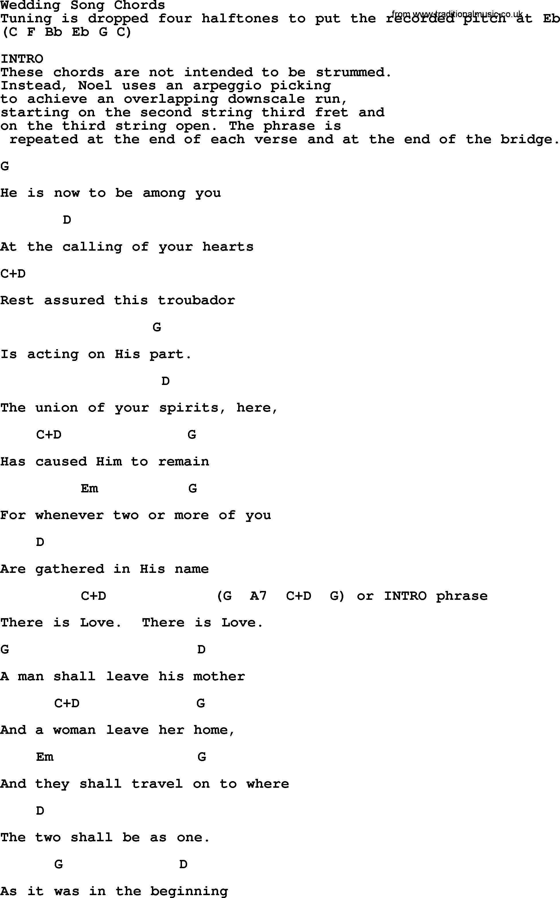 Peter Paul And Mary Song Wedding Song Lyrics And Chords