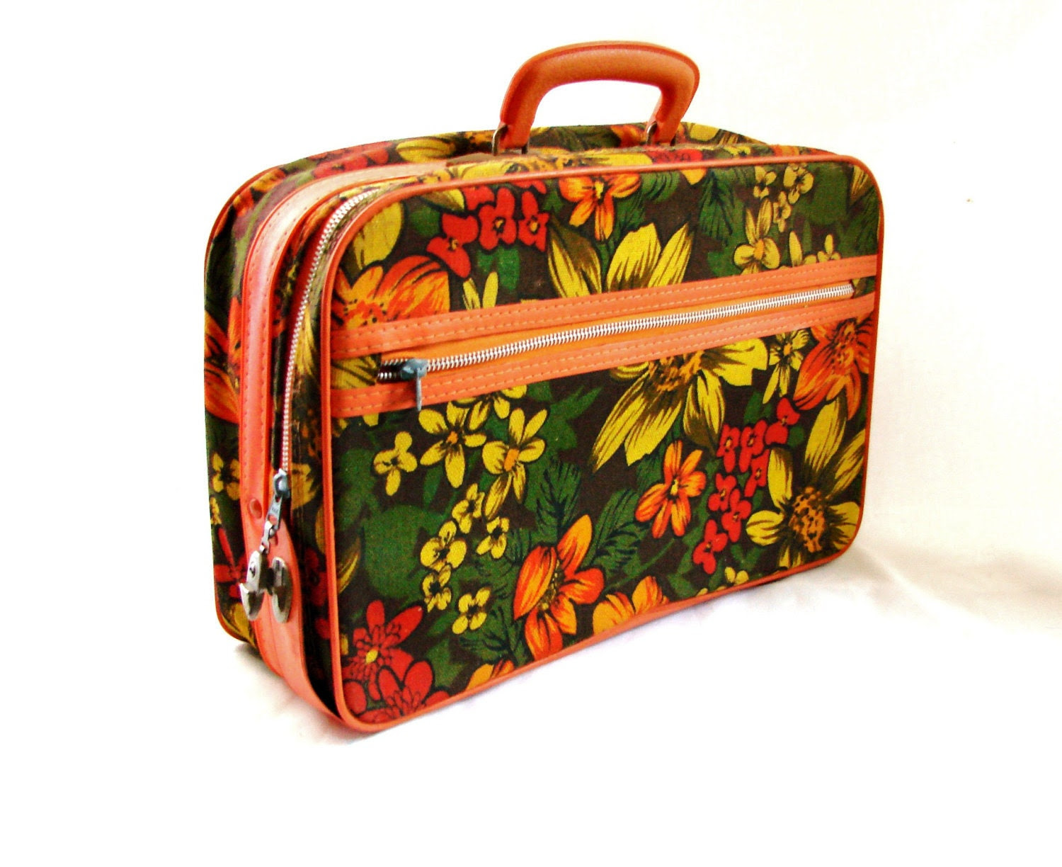 vintage 1960s Autumn Flower Hula Girl Canvas Luggage Carry On Overnight Tote Bag