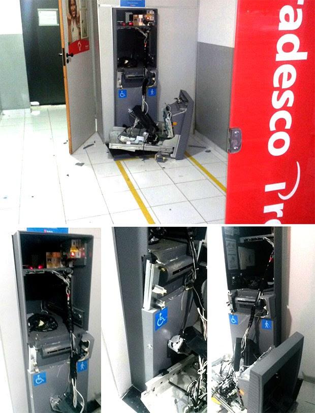 Terminal do Bradesco ficou bastante danificado (Foto: Divulgação/PM)