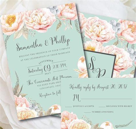 Mint Wedding Invitation, Mint Wedding, Mint and Peach