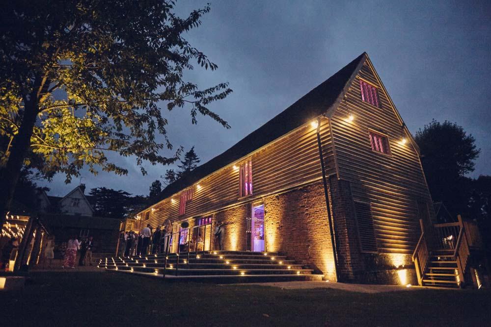 Nighttime photo of Tudor Barn, Belstead Wedding - www.helloromance.co.uk