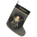 Personalize: Christmas Angel of Grace on Black Large Christmas Stocking