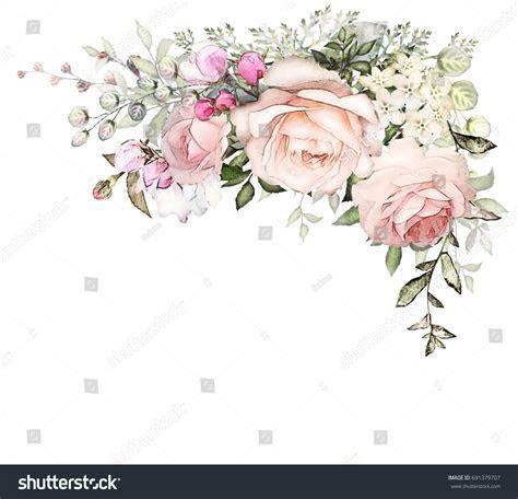 Vintage Card Watercolor Wedding Invitation Design Stock