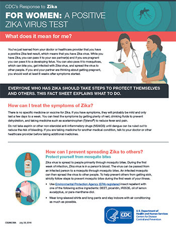 For Women: A postitive Zika virus test.  What does it mean for me? inforgraphic thumbnail
