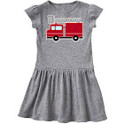 Inktastic Red Firefighter Fire Truck Toddler Dress, Toddler Girl's, Size: One size, Gray