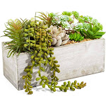 Artificial Mixed Succulent Plants in Rectangular Wooden Planter Box (9 x 4 x 5 inches) for, Indoor and Outdoor Home Decoration, Wedding, Gift