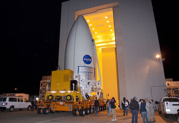 The Curiosity rover, now encased inside its payload fairing, is about to be transported to Space Launch Complex (SLC) 41, where the Atlas V rocket that will send it to Mars awaits.