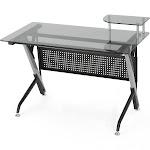Valeta Tempered Glass Desk - Black/Grey - Christopher Knight Home