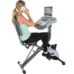 Exerpeutic WorkFit 1000 Desk Station Folding Exercise Bike with Pulse