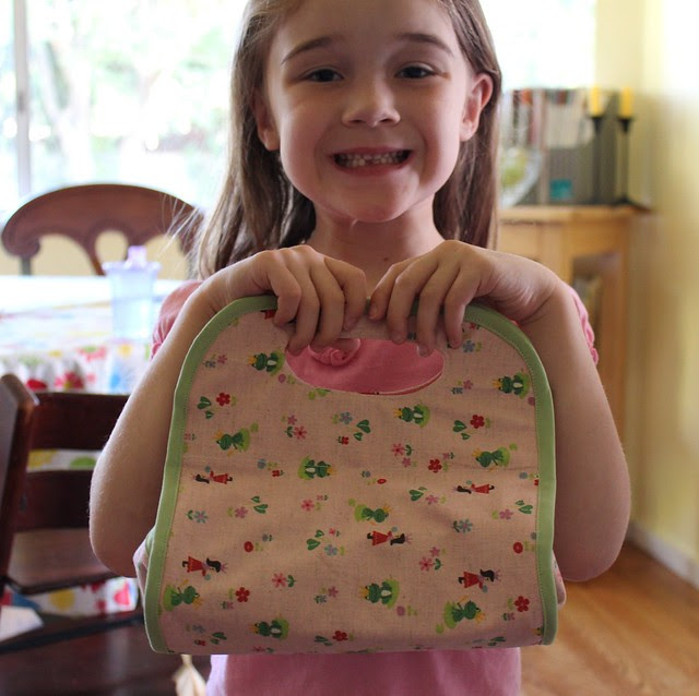 Juliana and her new lunch box