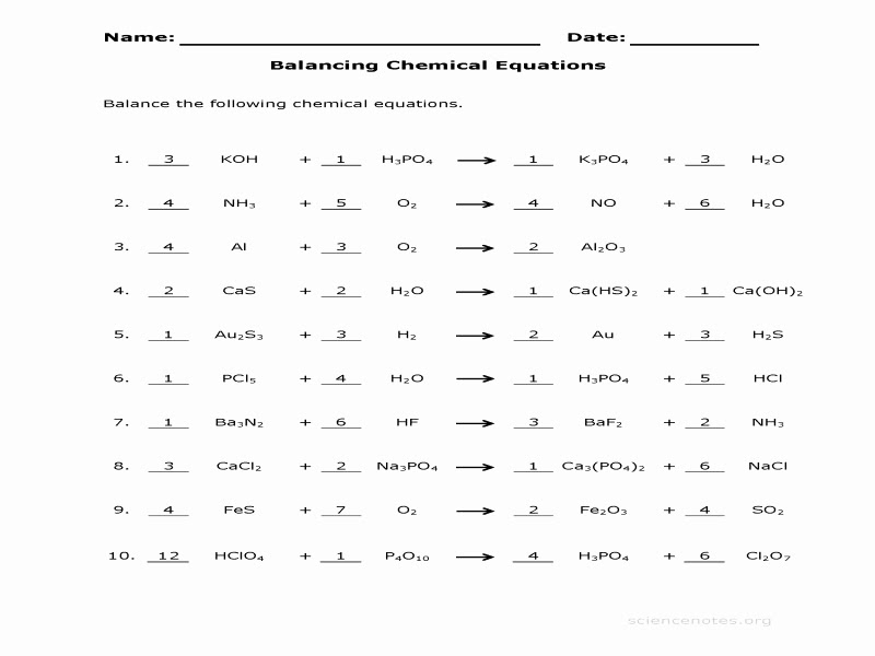 34 Chemistry Balancing Equations Worksheet Answers ...
