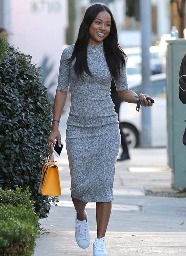 Next day sneakers and bodycon jacket midi dress with japan vernon