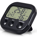 Insten LCD Outdoor Indoor Digital Thermometer Hygrometer Electronic Temperature Humidity Meter Gauge Clock, Black