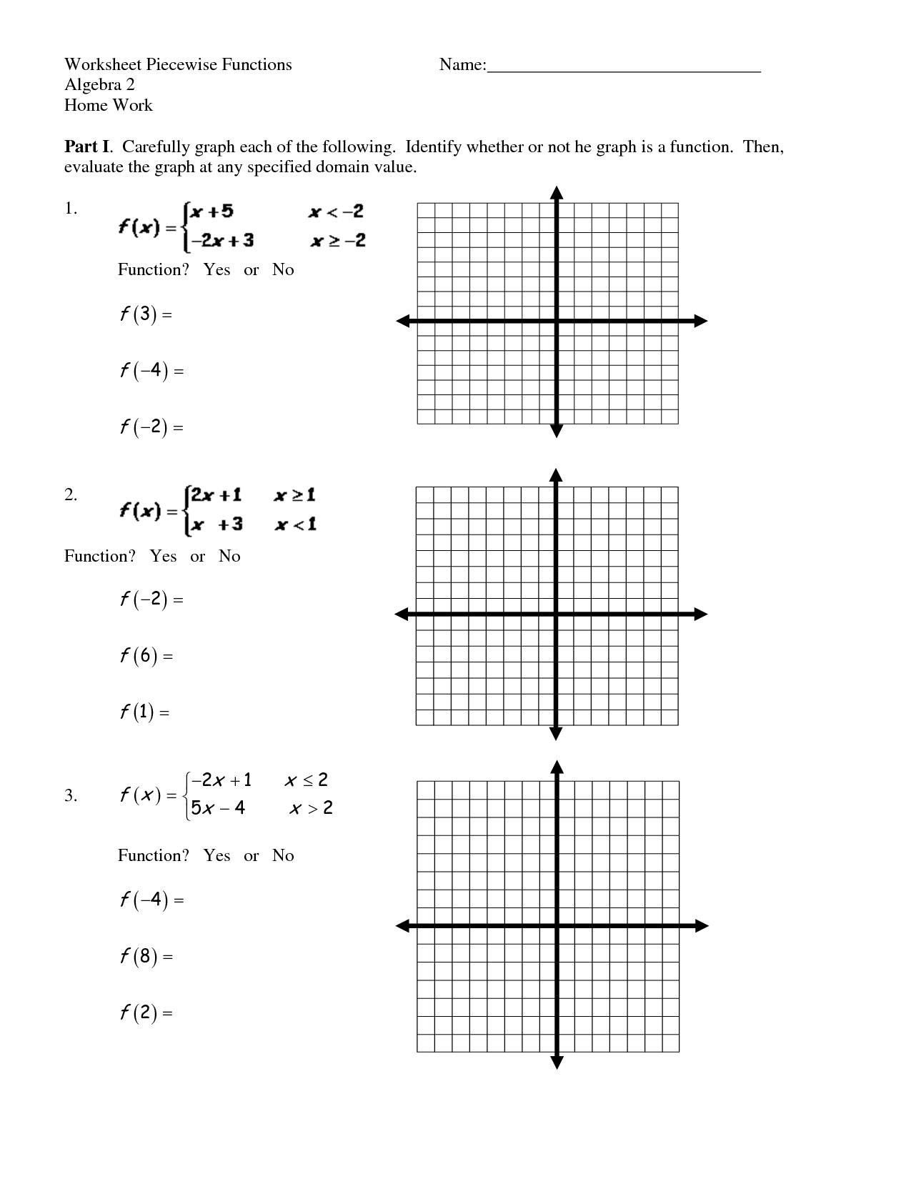 Algebra 2 Yl 44 Graphing Piecewise Functions Worksheet
