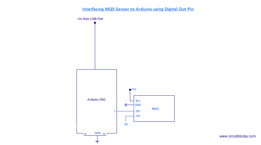 Interfacing MQ5 to Arduino Circuit Diagram