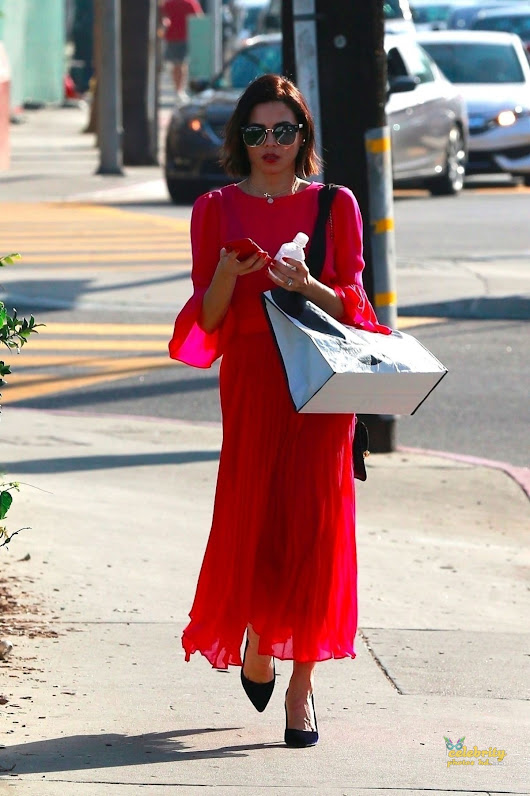 JENNA DEWAN in Red Dress Out in Beverly Hills-01/18/2018