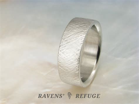 wide textured wedding band ? criss cross men?s ring