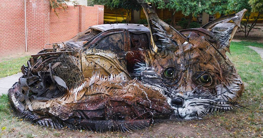 New Animalistic Trash Sculptures by Bordalo II Spring Up Around the Globe