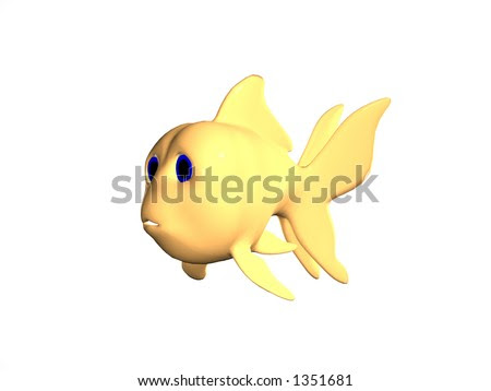 goldfish cartoon image. Rendered cartoon goldfish