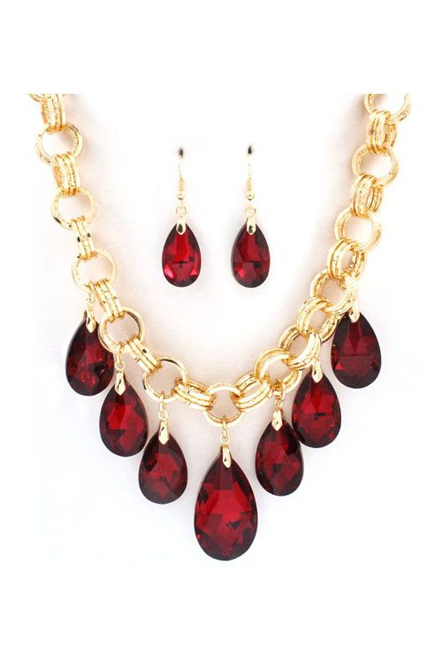 Dakota Necklace Set in Ruby Crystal