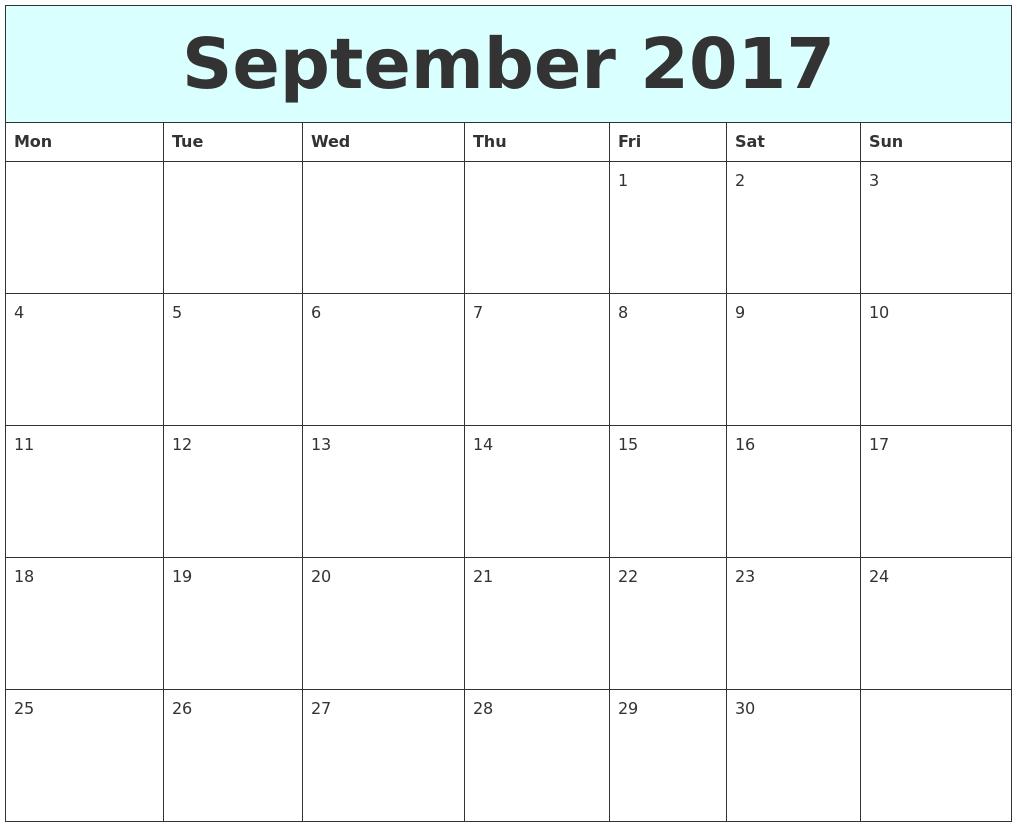 September 2017 Free Calendar PDF39;s