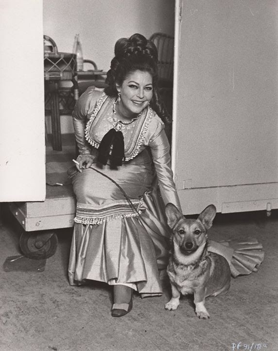 Ava on the set of Mayerling (1968) and Earthquake (1974) with her dog Rags II