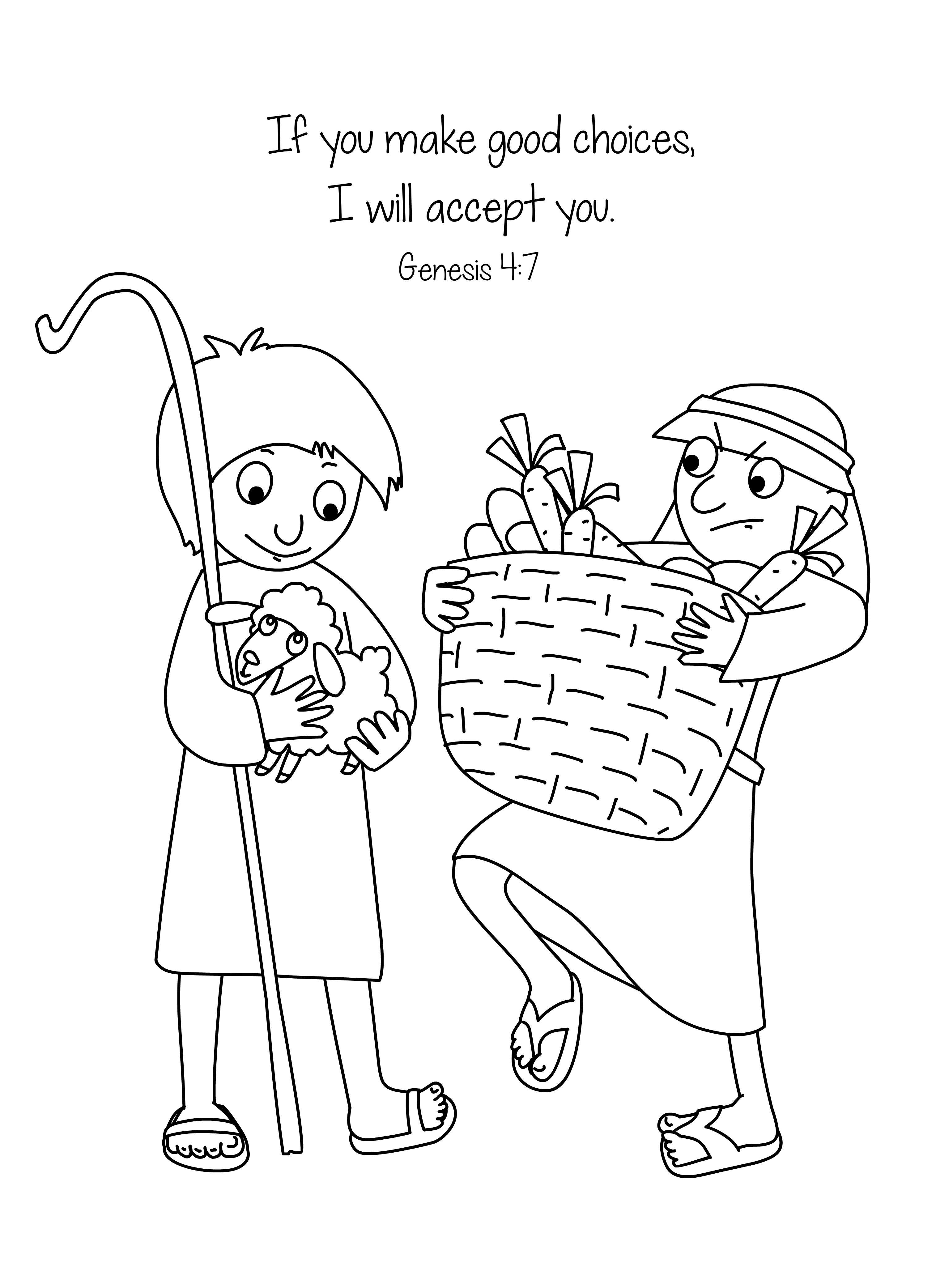 Bible Key Point Coloring Page | Cain & Abel | Free ...