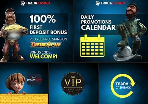 Trada Casino Review | £100 Bonus + 50 Free Spins | Bet Online UK