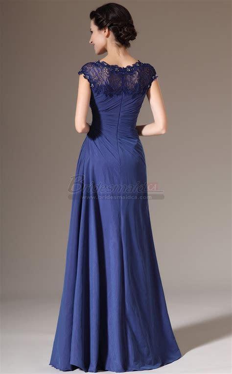 Blue Long Bateau Neckline Mermaid Bridesmaid Dress in Blue