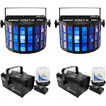 Chauvet DJ Mini Kinta IRC Lighting Effect (2 Pack) & Fog Smoke Machine (2 Pack)