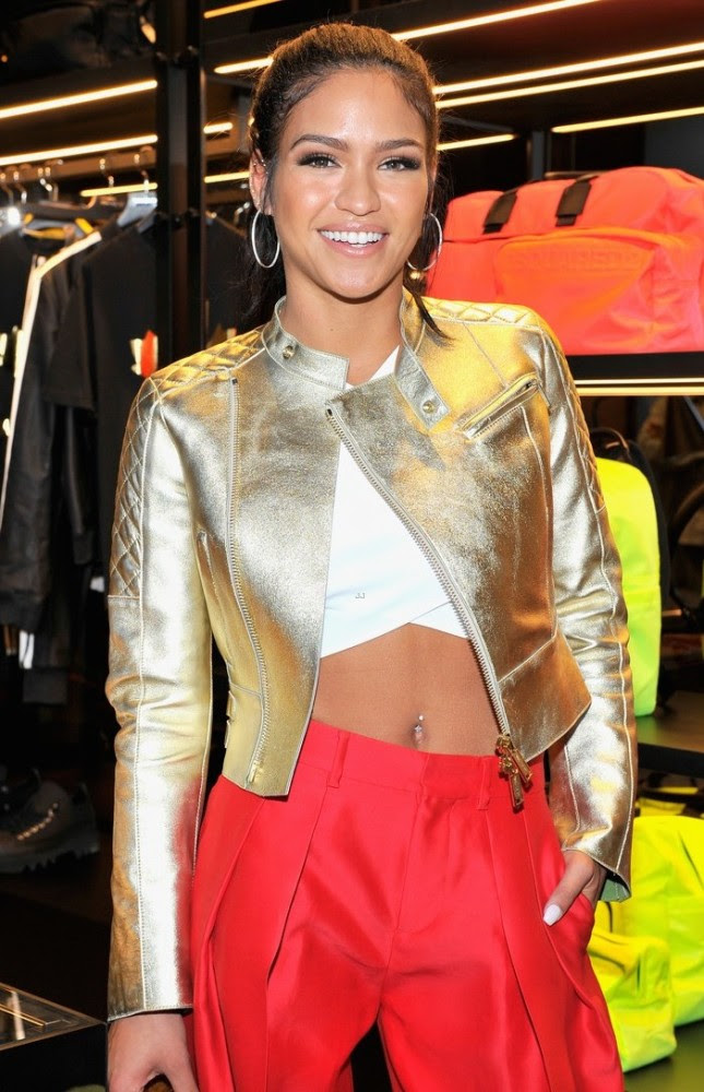 2 Cassie's DSquared2 Cocktail Party DSquared2 Spring 2015 Gold Quilted Jacket, White Crop Top, and Red Pants